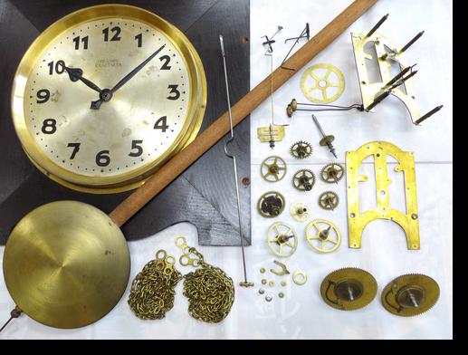 3.TREASORE EXACTNESS重錘式大型置時計(ホールクロック)分解掃除(オーバーホール)